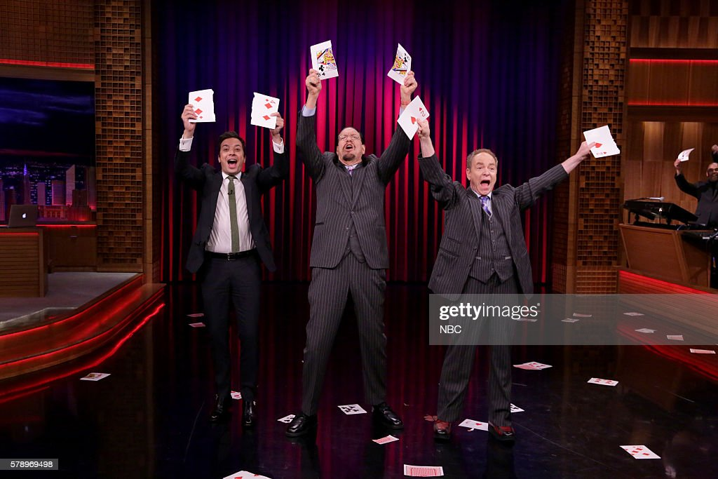 Host Jimmy Fallon during a magic demonstration with Penn Teller on July 22 2016