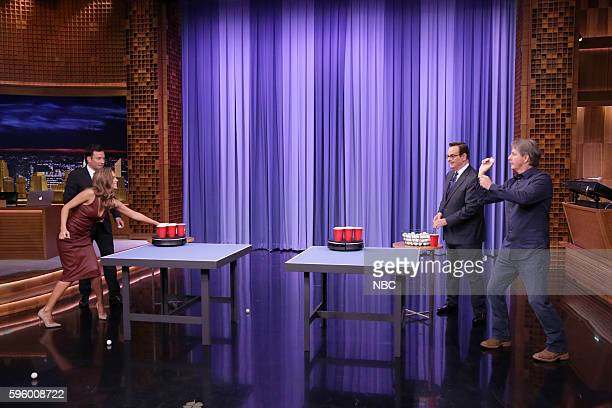 Actress Jessica Alba host Jimmy Fallon announcer Steve Higgins and comedian Jeff Foxworthy play roomba pong on August 26 2016