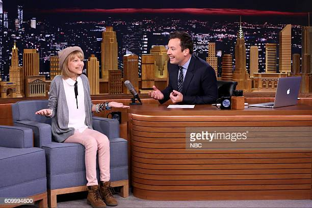 Singer Grace VanderWaal during an interview with host Jimmy Fallon on September 23 2016