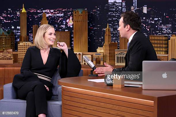 Actress Emily Blunt during an interview with host Jimmy Fallon on October 3 2016