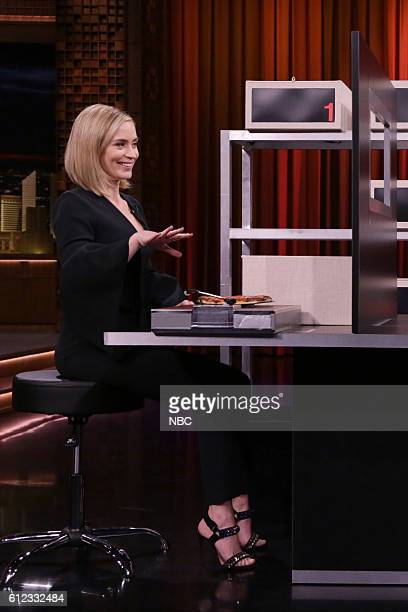 Actress Emily Blunt plays box of lies on October 3 2016