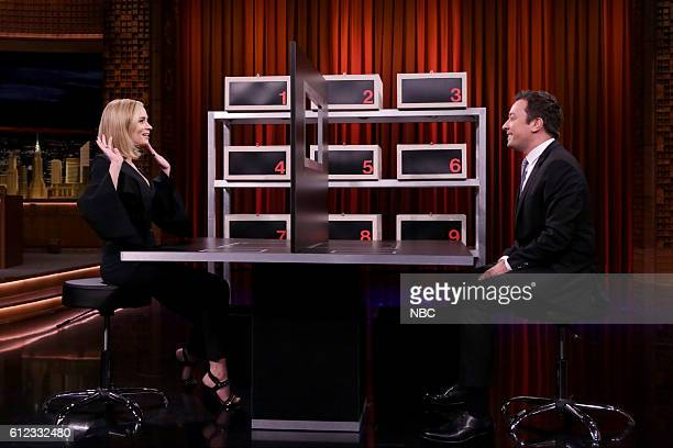 Actress Emily Blunt with host Jimmy Fallon play box of lies on October 3 2016