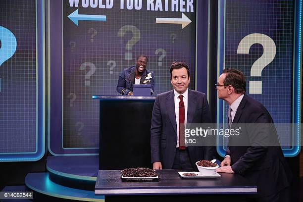 Actor Kevin Hart host Jimmy Fallon and announcer Steve Higgins play 'Would You Rather' on October 11 2016