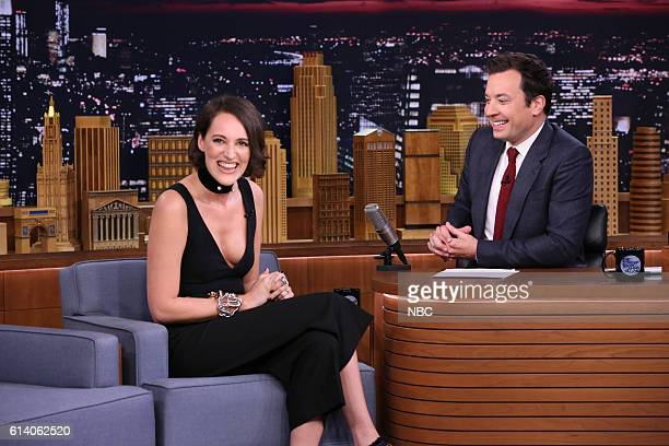 Actress Phoebe WallerBridge during an interview with host Jimmy Fallon on October 11 2016