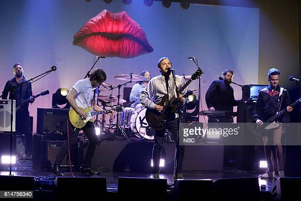 Matthew Followill Nathan Followill Caleb Followill and Jared Followill of musical guest Kings of Leon perform on October 14 2016