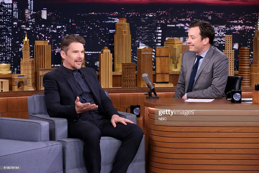 Actor Ethan Hawke during an interview with host Jimmy Fallon on October 25, 2016 --