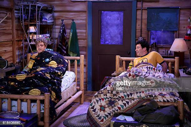 Actor Justin Timberlake and host Jimmy Fallon during the 'Camp Winnipesaukee' sketch on October 26 2016
