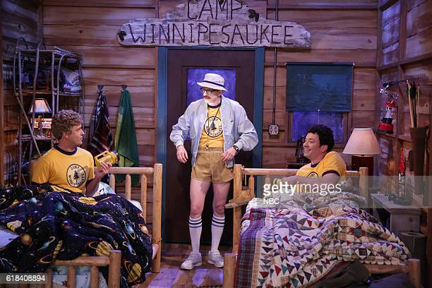 Actor Justin Timberlake writer AD Miles and host Jimmy Fallon during the 'Camp Winnipesaukee' sketch on October 26 2016