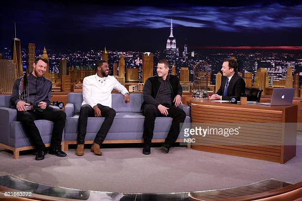 Baseball players Ben Zobrist Dexter Fowler and Anthony Rizzo of the 2016 World Series Champions Chicago Cubs during an interview with host Jimmy...