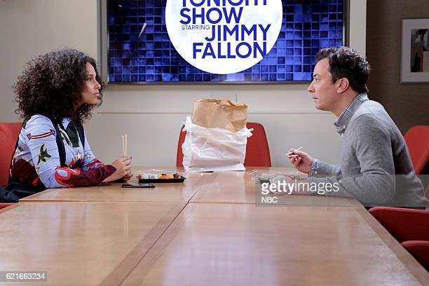 Singer Alicia Keys and host Jimmy Fallon during the 'Alicia Keys Staring Contest' sketch on November 7 2016