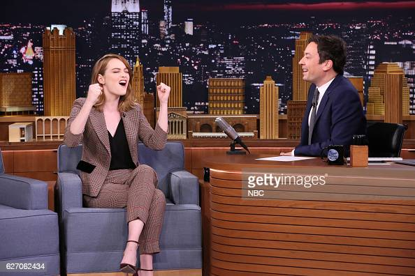 Actress Emma Stone during an interview with host Jimmy Fallon on December 01 2016