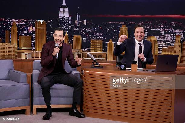 Actor Riz Ahmed and host Jimmy Fallon during the 'Wheel of Freestyle' on December 07 2016