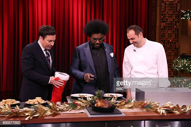 Host Jimmy Fallon Ahmir 'Questlove' Thompson and chef Daniel Humm play 'Food Fake Outs' on December 21 2016