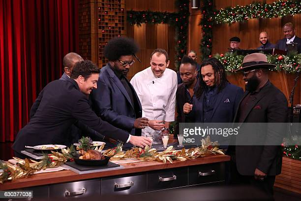 "Host Jimmy Fallon Ahmir 'Questlove' Thompson chef Daniel Humm Kirk ""Captain Kirk"" Douglas Mark Kelley and Tariq ""Black Thought"" Trotter play 'Food..."