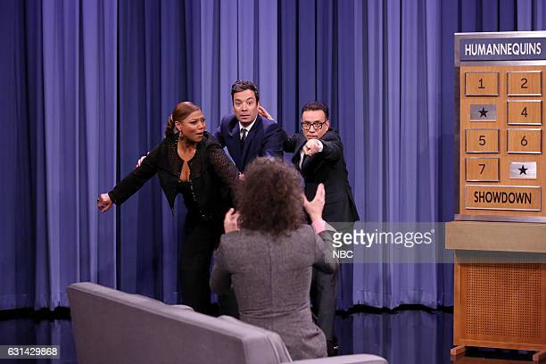 Actress Queen Latifah Wayne Coyne of musical guest The Flaming Lips host Jimmy Fallon and comedian Fred Armisen play humannequins on January 10 2017