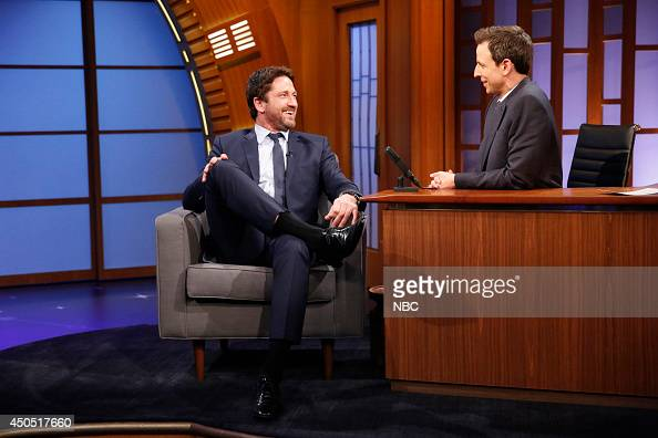 Actor Gerard Butler durng an interview with host Seth Meyers on June 12 2014