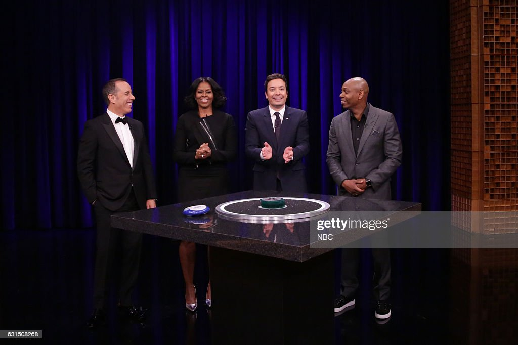 Comedian Jerry Seinfeld, First Lady Michelle Obama, host Jimmy Fallon, and comedian Dave Chappelle play Catchphrase on January 11, 2017 --