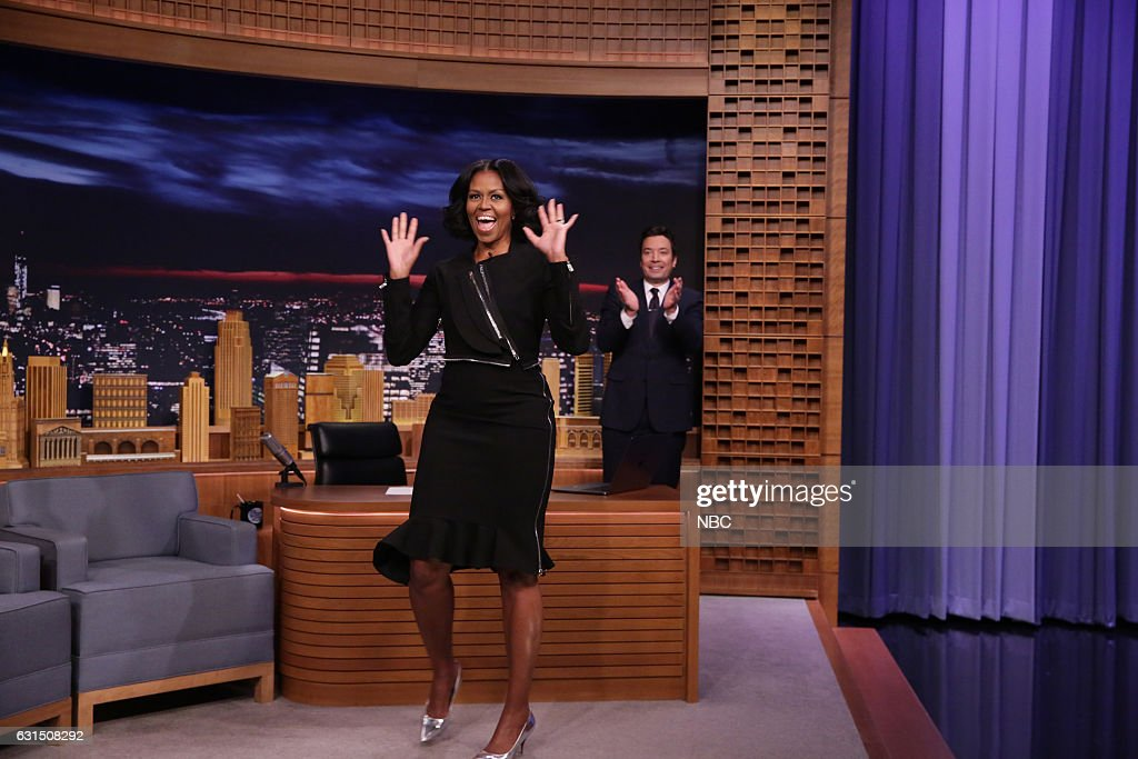 First Lady Michelle Obama arrives to an interview with host Jimmy Fallon on January 11, 2017 --