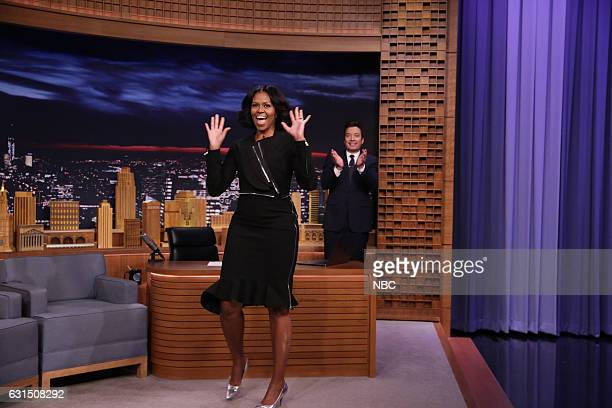 First Lady Michelle Obama arrives to an interview with host Jimmy Fallon on January 11 2017