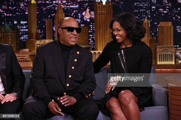 Musical guest Stevie Wonder is greeted by First Lady Michelle Obama on January 11 2017