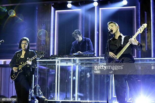 Musical guests Romy Madley Croft Jamie xx Oliver Sim of The xx perform on January 17 2017