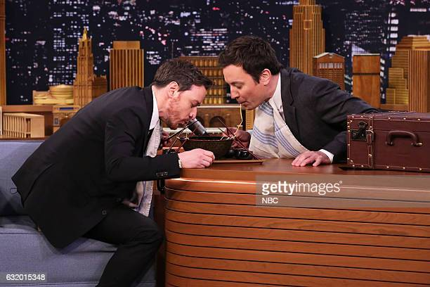 Actor James McAvoy and host Jimmy Fallon during the Ramen Challenge on January 18 2017