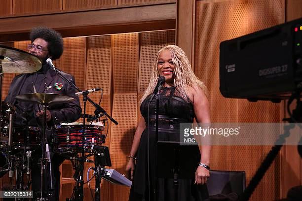 Ahmir 'Questlove' Thompson and singer Nellie 'Tiger' Travis during Suggestion Box on January 18 2017