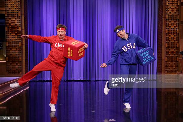 Comedian Mike Myers and host Jimmy Fallon play dice danceoff on January 24 2017