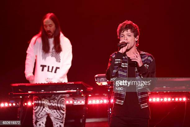 Musical guests Steve Aoki and Louis Tomlinson perform on January 24 2017