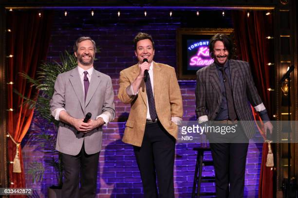 Producer Judd Apatow host Jimmy Fallon and actor Keanu Reeves during Kid StandUp on February 1 2017