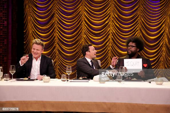 Chef Gordon Ramsay host Jimmy Fallon and Ahmir 'Questlove' Thompson of The Roots play secret ingredient game on February 3 2017