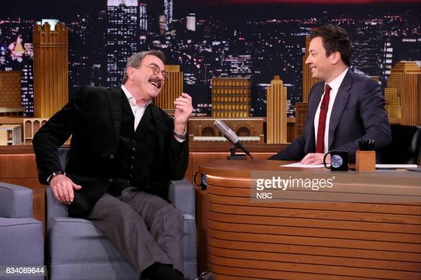 Actor Tom Selleck during an interview with host Jimmy Fallon on February 6 2017