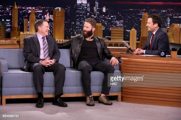 Superbowl champions Bill Belichick and Julian Edelman during an interview with host Jimmy Fallon on February 6 2017