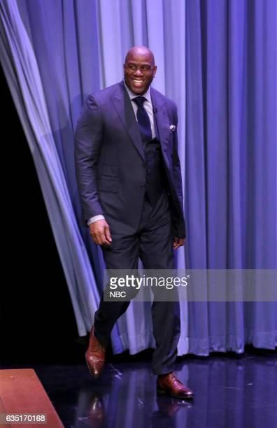 Former professional basketball player Magic Johnson arrives on February 13 2017