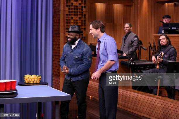 Tariq Black Thought Trotter of The Roots and actor Luke Wilson play roomba pong on February 13 2017