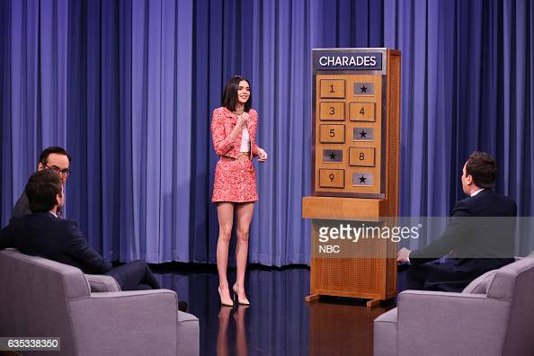 Announcer Steve Higgins actor Charlie Day model Kendall Jenner and host Jimmy Fallon play Charades on February 14 2017