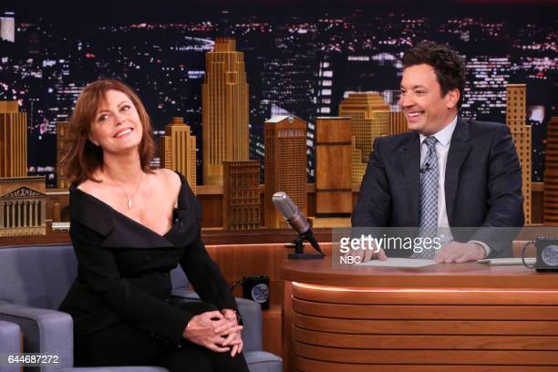 Actress Susan Sarandon during an interview with host Jimmy Fallon on February 23 2017