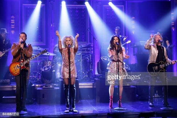 Musical guests Jimi Westbrook Kimberly Roads Schlapman Karen Fairchild Phillip Sweet of Little Big Town performs on February 23 2017