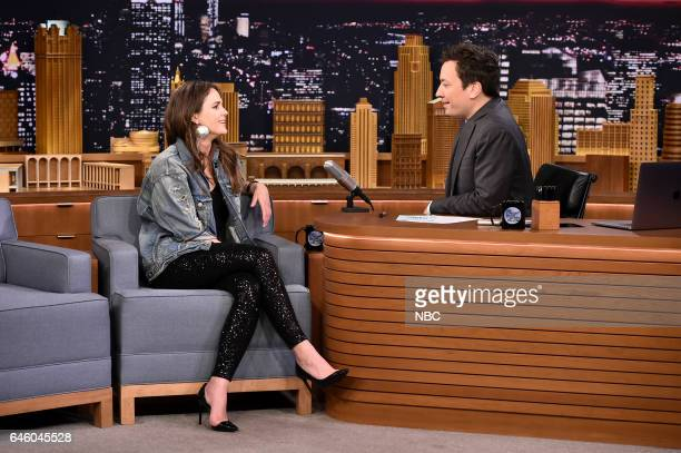 Actress Keri Russell during an interview with host Jimmy Fallon on February 27 2017