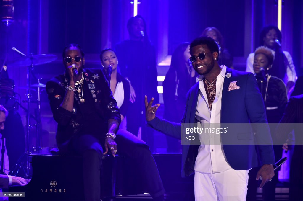 Musical guests 2 Chainz and Gucci Mane perform on February 27, 2017 -- (Photo by: Theo Wargo/NBC/NBCU Photo Bank via Getty Images))