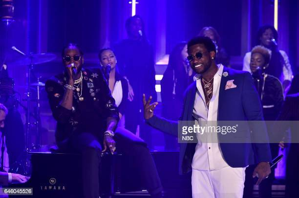 Musical guests 2 Chainz and Gucci Mane perform on February 27 2017