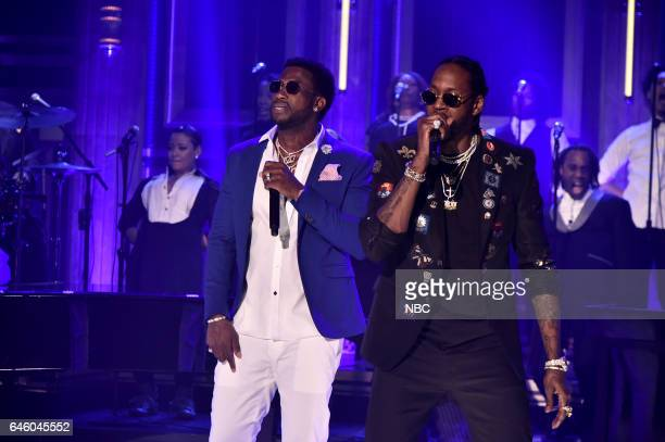 Musical guests Gucci Mane and 2 Chainz perform on February 27 2017
