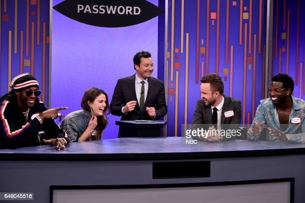 Rapper 2 Chainz Actress Keri Russell host Jimmy Fallon actor Aaron Paul and recording artist Gucci Mane play password on February 27 2017