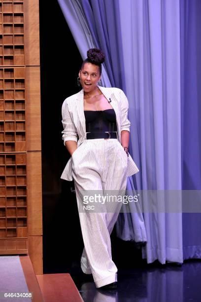 Singer Alicia Keys arrives on February 28 2017