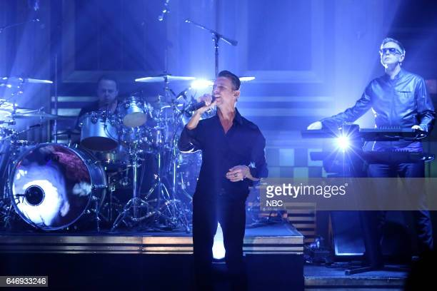 Musical guests Martin Gore Dave Gahan Andy Fletcher of Depeche Mode performs on March 1 2017