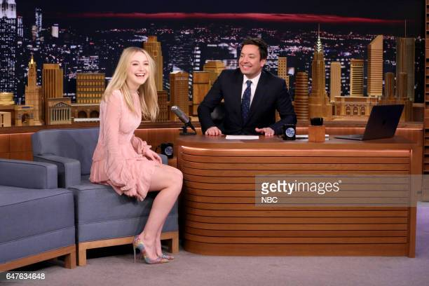 Actress Dakota Fanning during an interview with host Jimmy Fallon on March 3 2017