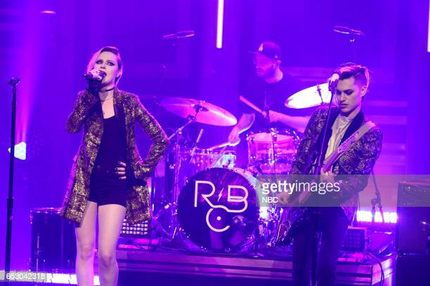 Musical guests Evan Rachel Wood and Zach Villa of Rebel and a Basketcase with Evan Rachel Wood on March 13 2017