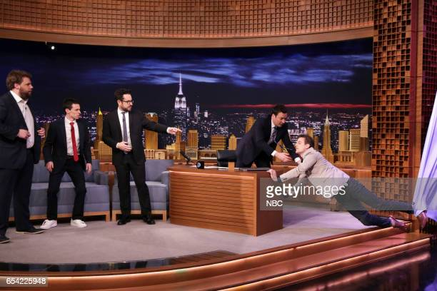 Actor Henry Lewis actor Jonathan Sayer director JJ Abrams host Jimmy Fallon and actor Henry Shields during 'The Interview That Goes Wrong' on March...