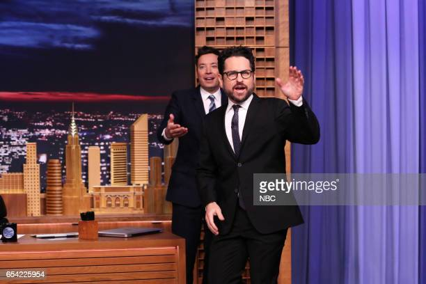 Host Jimmy Fallon greets Director JJ Abrams on March 16 2017