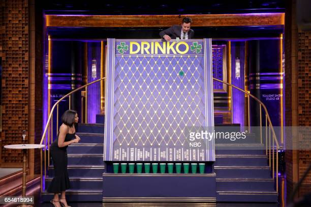 Actress Taraji P Henson and host Jimmy Fallon play the 'Drinko' sketch on March 17 2017